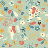 Seamless pattern with elephants and flowers Royalty Free Stock Photos