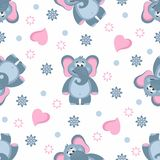 Seamless pattern with Elephants, hearts, flowers, circles. stock illustration