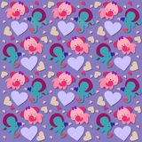 Elephants and hearts seamless pattern - vector. Valentine elephants and hearts seamless pattern. Useful also as design element for gift wrapping. Eps file vector illustration