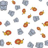 Seamless pattern of elephants and lions in in cartoon style vector illustration