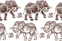 Seamless pattern with elephants and Ohm sign. Stock Image