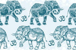 Seamless pattern with elephants and Ohm sign. Royalty Free Stock Photography