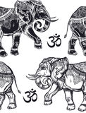 Seamless pattern with elephants and Ohm sign. Stock Photos