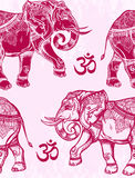 Seamless pattern with elephants and Ohm sign. Royalty Free Stock Photos