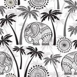 Seamless pattern with elephants and palms. Monochrome  ill Stock Photo