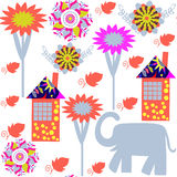Seamless pattern with elephants and seamless pattern in swatch m. Enu, vector  illustration. Cute texture for design Royalty Free Stock Image