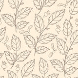 Seamless pattern with elm branches Stock Photo
