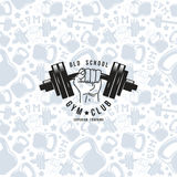 Seamless pattern and emblem gym club Stock Images