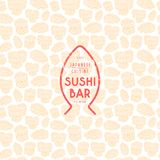 Seamless pattern and emblem for sushi bar. Illustration in linocut style Royalty Free Stock Image
