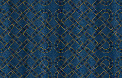 Vector seamless pattern embroidered on blue denim texture background Stock Images