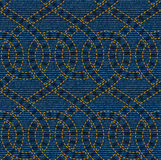 Vector seamless pattern embroidered on blue denim texture background Royalty Free Stock Photos