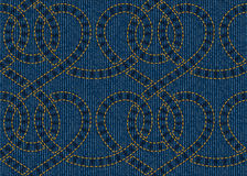 Vector seamless pattern embroidered on blue denim texture background Stock Photo