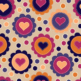 Seamless pattern with embroidered hearts Stock Photos