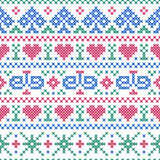 Seamless pattern embroidery cross-stitch style Stock Photography