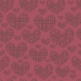 Seamless pattern with embroidery of hearts Stock Photo