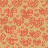 Seamless pattern with embroidery of hearts Stock Photos