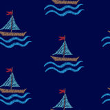 Seamless pattern with embroidery stitches imitation boat and wav. E illustration. Marine embroidery pattern vector background for printing on fabric, paper for Royalty Free Stock Photos
