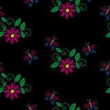 Seamless pattern with embroidery stitches imitation flower, butt Royalty Free Stock Images