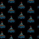 Seamless pattern with embroidery stitches imitation little boat stock illustration
