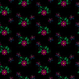 Seamless pattern with embroidery stitches imitation little flowe Stock Images