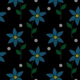 Seamless pattern with embroidery stitches imitation simple littl. E blue flower. Fashion embroidery background with flower on black background Stock Photography