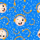 Seamless pattern emoticons with headphones music note. Royalty Free Stock Image