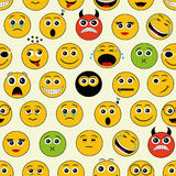 Seamless pattern with emoticons Stock Photos