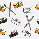 Seamless pattern of emotions and rolls. Cute rolls royalty free illustration