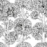 Seamless pattern of enchanted old trees graphic draw Stock Photo