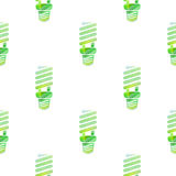 Seamless pattern with energy efficient lamps Stock Photography