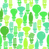 Seamless pattern with energy saving lamps Royalty Free Stock Image