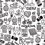 Seamless Pattern With Energy Symbols Stock Photo