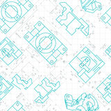 Seamless pattern of engineering drawings of parts. Vector Royalty Free Stock Image