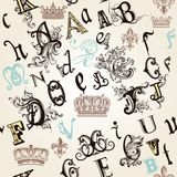 Seamless pattern with English ABC in retro style decorated by or. Vector seamless pattern with English ABC in retro style decorated by ornaments and crowns vector illustration