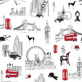 Seamless pattern with English miniatures. Bright seamless background with miniatures The style of London Royalty Free Stock Photography