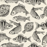 Seamless pattern with engraved fishes. Seamless pattern with engraved freshwater and saltwater fishes on texture background. Hand drawn repeated drawing with Stock Photography