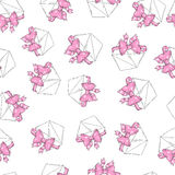 Seamless pattern envelopes pink bow. Seamless pattern letter ribbon bow. Vector illustration Royalty Free Stock Image