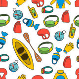 Seamless pattern with equipment for kayaking-4 Royalty Free Stock Images