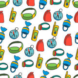 Seamless pattern with equipment for kayaking-5 Stock Image