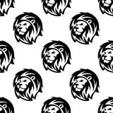 Seamless pattern of eraldic lions with shaggy mane. Black and white african heraldic lion heads seamless pattern background in outline sketch style with shaggy Stock Photos