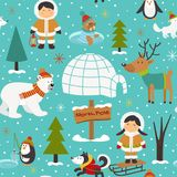 Seamless pattern with Eskimos and arctic animals Stock Photography
