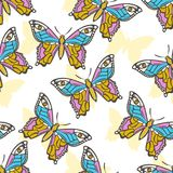 Seamless pattern with esoteric butterfly on a white background. Natural butterflies with eyes on the wings Stock Photo