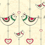 Seamless pattern with ethnic decoration with birds Stock Image