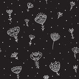 Seamless pattern with ethnic flowers minimal black Royalty Free Stock Image