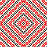 Seamless pattern with ethnic geometric abstract ornament. Cross stitch slavic embroidery motifs. Stock Photo