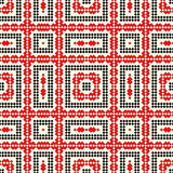 Seamless pattern with ethnic geometric abstract ornament. Cross stitch slavic embroidery motifs. Decorative elements in traditional red and black colors on Royalty Free Stock Image