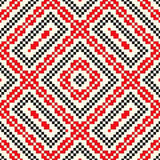 Seamless pattern with ethnic geometric abstract ornament. Cross stitch slavic embroidery motifs. Royalty Free Stock Photo