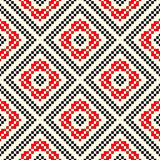 Seamless pattern with ethnic geometric abstract ornament. Cross stitch slavic embroidery motifs. Royalty Free Stock Photos