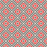 Seamless pattern with ethnic geometric abstract ornament. Cross stitch slavic embroidery motifs. Decorative elements in traditional red and black colors on Royalty Free Stock Photo