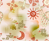 Seamless pattern with ethnic Indian symbols sun and sky. EPS10 vector illustration. Royalty Free Stock Photo